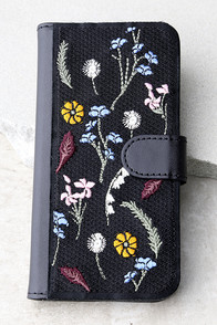 Zero Gravity Gather Black Embroidered iPhone 7 Wallet