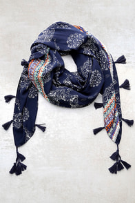 Fun and Games Navy Blue Print Scarf