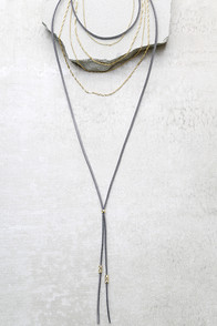 Admiration Gold and Grey Layered Choker Necklace