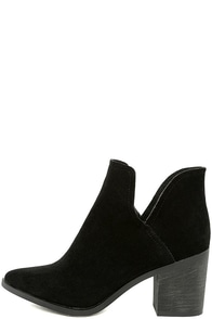 Ezra Black Suede Ankle Booties