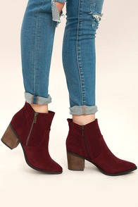 Emme Wine Suede Ankle Booties
