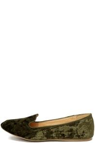 Calynn Olive Velvet Loafers Image