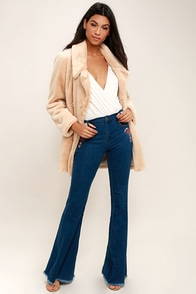 Freeing Medium Wash Embroidered Flare Jeans