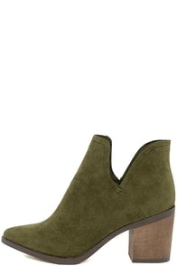 Ezra Olive Suede Ankle Booties