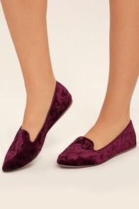 Calynn Burgundy Velvet Loafers Image