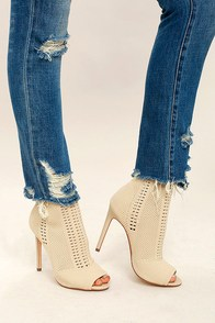 Steve Madden Candid Nude Knit High Heel Peep-Toe Booties