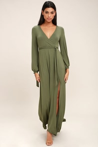 Just the Thing Olive Green Long Sleeve Maxi Dress