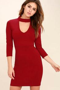 Seven Wonders Dark Red Bodycon Dress