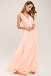 Lovely Blush Pink Dress - Maxi Dress - Gown - Bridesmaid Dress ...