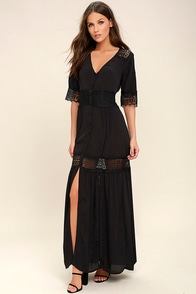 Amuse Society Last Call Black Lace Maxi Dress