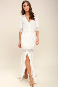 Amuse Society Last Call Ivory Lace Maxi Dress
