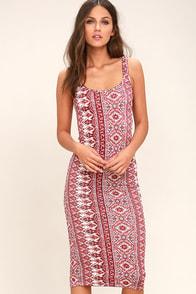 Billabong Share Joy Red Print Bodycon Midi Dress