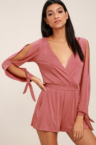 Won Me Over Rose Pink Long Sleeve Romper