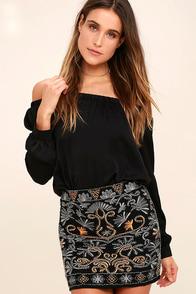 Your Year Black Beaded Mini Skirt