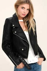 Tough Girl Black Vegan Leather Moto Jacket