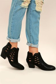 Sutton Black Cutout Ankle Booties Image