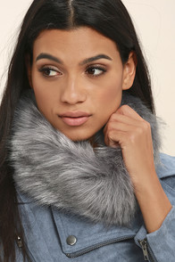 Slope Star Grey Faux Fur Infinity Scarf