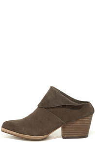Steven by Steve Madden Shila Taupe Suede Leather Mules