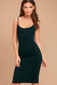 Absolutely Astounding Dark Teal Bodycon Midi Dress