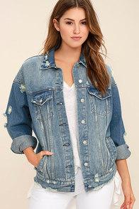 Maximum Velocity Blue Distressed Oversized Denim Jacket