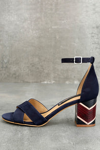Steven by Steve Madden Voomme-S Navy Nubuck Leather Heels