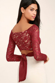 That's My Girl Wine Red Lace Crop Top