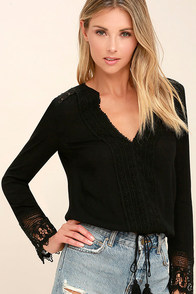 Bali Daydream Black Lace Long Sleeve Top