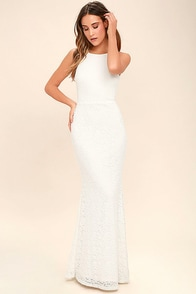 Ephemeral Allure Ivory Lace Maxi Dress
