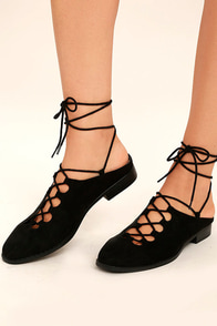 Saulo Black Suede Lace-Up Mules Image