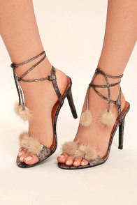 Aaliyah Gold Fur Lace-Up Heels