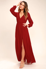 Wondrous Water Lilies Red Long Sleeve Maxi Dress