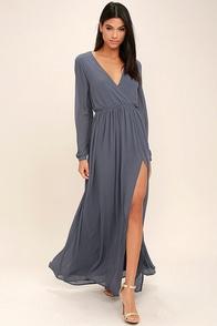 Wondrous Water Lilies Slate Grey Long Sleeve Maxi Dress