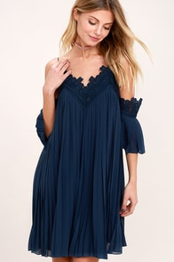 Give Thanks Navy Blue Lace Off-the-Shoulder Dress