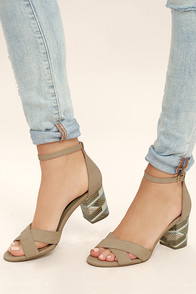Steven by Steve Madden Voomme-S Tan Nubuck Leather Heels
