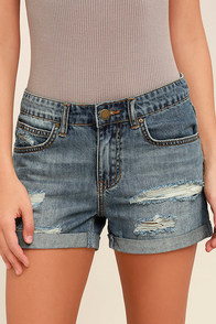 Billabong Frankie Medium Wash Distressed Jean Shorts