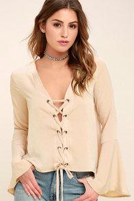 Slip Away Beige Long Sleeve Lace-Up Top