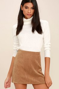 1960s Style Skirts Head of the Class Brown Corduroy Mini Skirt $32.00 AT vintagedancer.com