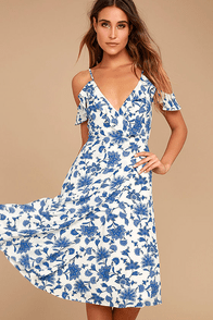 Arise Blue and White Floral Print Off-the-Shoulder Dress