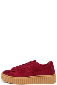 Sammy Wine Suede Flatform Sneakers