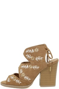 Maja Camel Suede Embroidered High Heel Sandals