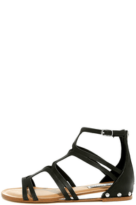 Steve Madden Delta Black Leather Gladiator Sandals