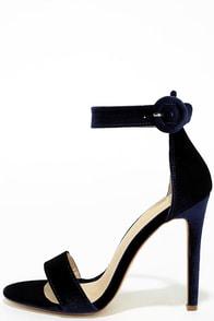 Elias Blue Velvet Ankle Strap Heels
