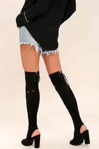 Ingrid Black Suede Peep-Toe Over the Knee Boots
