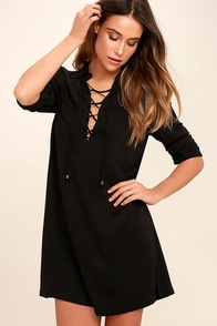 Best of All Black Long Sleeve Lace-Up Dress