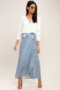 Anniversary White and Blue Striped High-Low Wrap Skirt
