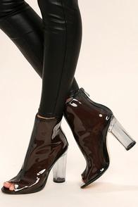 Giana Black Lucite Peep-Toe Booties