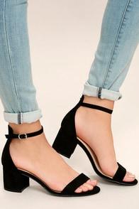 Lovely Black Suede Heels - Embroidered Heels - Single Sole Heels ...