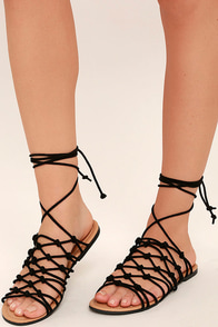 Kaleo Black Suede Leg Wrap Sandals