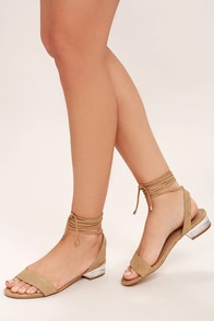 Steve Madden Carolynn Tan Suede Leather Lace-Up Lucite Sandals