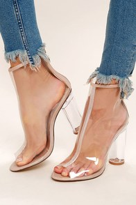 Giana Transparent Lucite Peep-Toe Booties